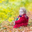 Little baby girl playing with autumn leaves — Stock Photo #43247289