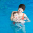 Mother and her baby enjoying a baby swimming lesson — Stock Photo #43247495
