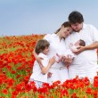 Parents with two children on a field — Stock Photo