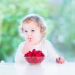 Little girl eating raspberry — Stock Photo #43248161