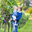 Cute happy boy and his adorable baby sister picking fresh grapes together — Stock Photo #43248265