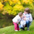 Children in a beautiful autumn park — Stock Photo #43248589