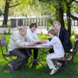Four generations of men in a park — Stock Photo