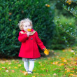 Toddler girl in a beautiful autumn park — Stock Photo