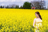 Pregnant woman in a beautiful yellow flower field — Stock Photo