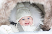 Baby sitting in a winter fur stroller — Stock Photo