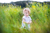 Baby girl playing in a field — Stock Photo