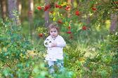 Güzel bir sonbahar parkta kız bebek — Stok fotoğraf