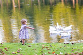 Baby girl chasing wild geese in an autumn park — Zdjęcie stockowe
