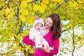Mother and her beautiful baby daughter walking — Stock Photo