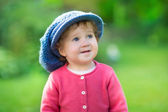 Girl wearing a big knitted hat — Foto Stock
