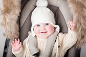 Baby in a warm hat — Stock Photo