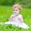 Baby girl eating candy — Stock Photo #43250815