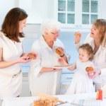 Women having fun together baking an apple pie — Stock Photo