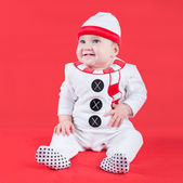 Baby wearing a Christmas snow man costume — Stock Photo