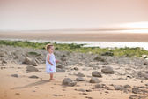Toddler girl watching the sunset at a beach — Stock Photo