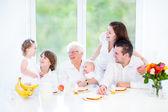 Happy young family having fun at breakfast — Stock Photo