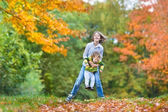 Brother and toddler sister playing together — Foto Stock