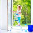 Little girl washing a window — Stock Photo #46990763