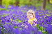 Roztomilé batole dívka v bluebell květy na jaře — Stock fotografie