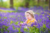 Cute toddler girl in bluebell flowers in spring — Stock Photo
