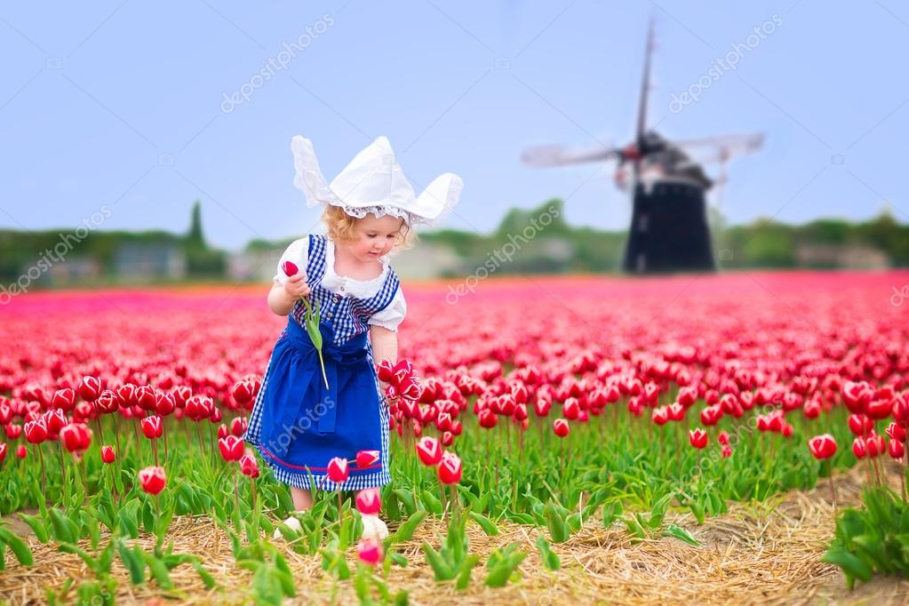 Little girl in a national Dutch costume in tulips field with windmill ...