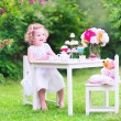 Toddler girl playing tea party with a doll — Stock Photo #48042229