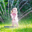 Little girl playing with garden sprinkler — Stock Photo #48741855
