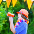 Dutch football fan, little boy cheering — Stock Photo #48966305