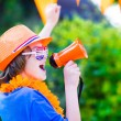 Dutch football fan, little boy cheering — Stock Photo