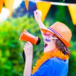 Dutch football fan, little boy cheering — Stock Photo #48966321
