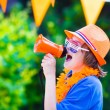 Dutch football fan, little boy cheering — Stock Photo #49082067