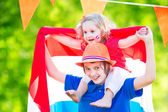 Two kids Dutch celebration national holiday — Stock Photo