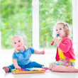 Kids playing music with xylophone — Stock Photo #49279297