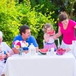Family eating fruit in the garden — Stock Photo #49279377