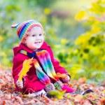 Little girl having fun in an autumn park — Stock Photo #49279567