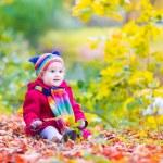 Little girl having fun in an autumn park — Stock Photo #49279575
