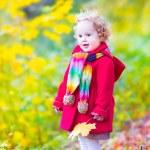 Little girl having fun in an autumn park — Stock Photo #49279647