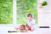 Little girl playing with a bunny — Stok fotoğraf