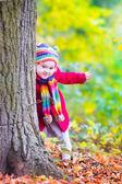 秋の公園で楽しんでの少女 — ストック写真