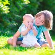Brothers playing in the garden — Stock Photo #49607341