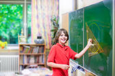 School child at math class — Stock Photo
