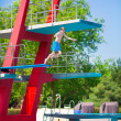 Boy jumping into a pool — Stock Photo #51343243