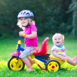 Two kids on a bike in the garden — Stock Photo #51343271