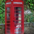 Little girl in a telephone booth — Stock Photo #51343707