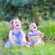 Laughing kids playing in a forest — Stock Photo #51344413