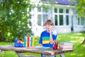 Happy boy going back to school — Стоковое фото