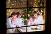 Family at Christmas dinner — Stock Photo
