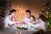 Happy family at Christmas dinner — Stock Photo