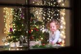 Little girl at Christmas dinner — Stock Photo